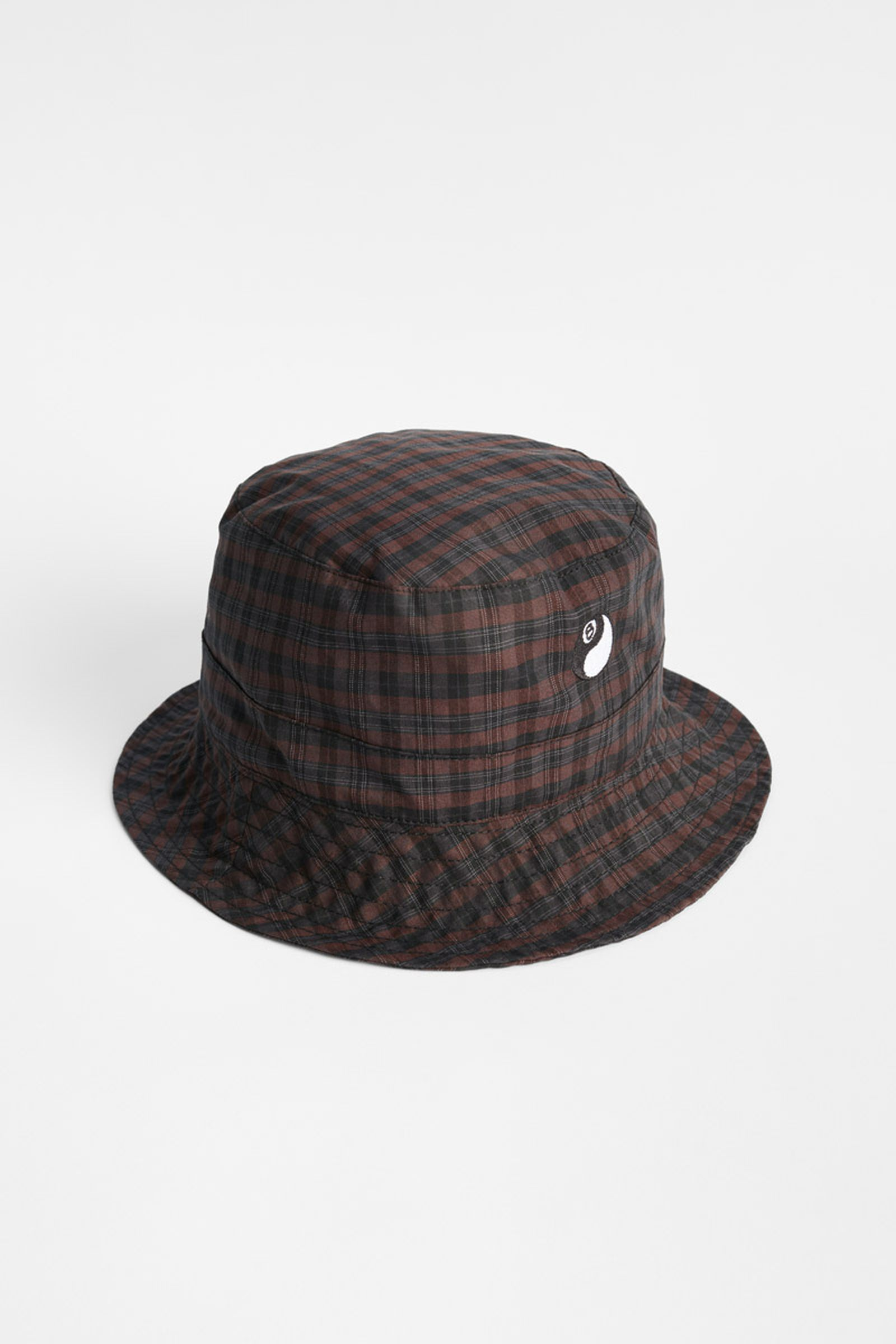 AS208BMP_BUCKET HAT_MAROON PLAID_UPRIGHT