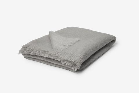 Alba Fringed Mohair-Blend Blanket