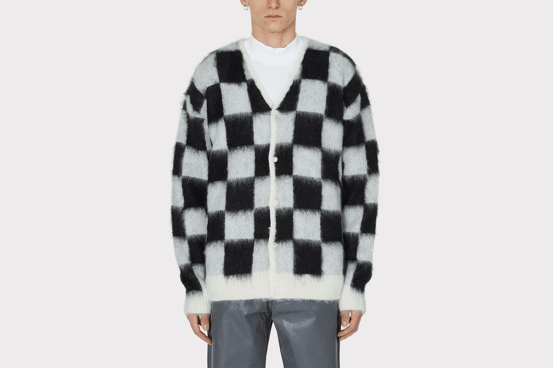 Mohair Checkered Cardigan