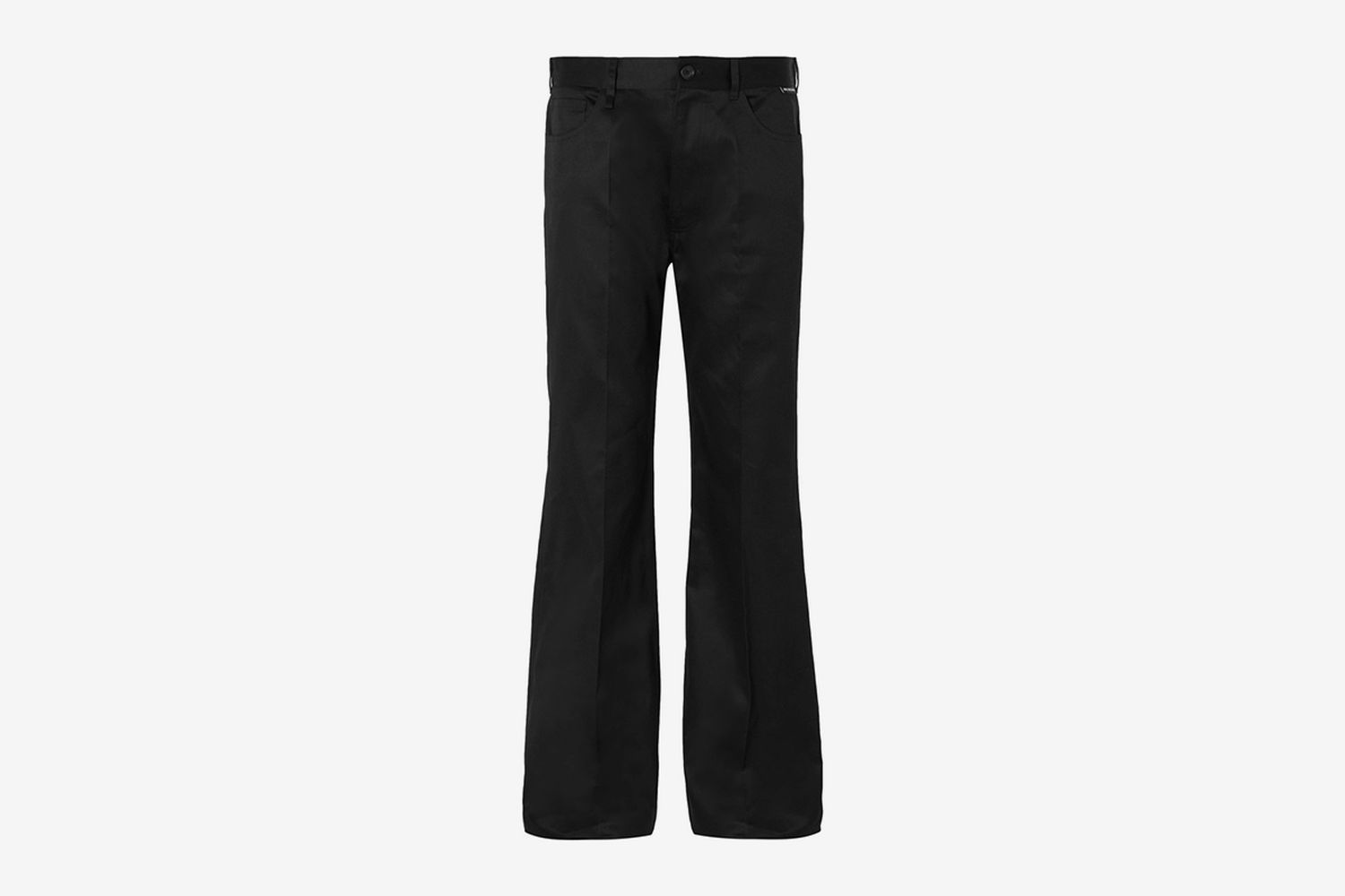 Black Wide-Leg Cotton-Twill Trousers