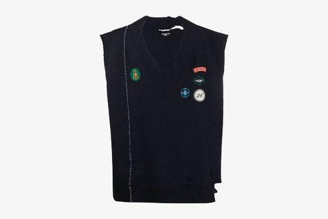 Embroidered Patch Knitted Vest