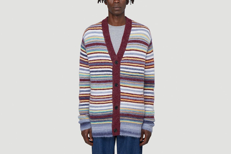 Striped-Knit Cardigan
