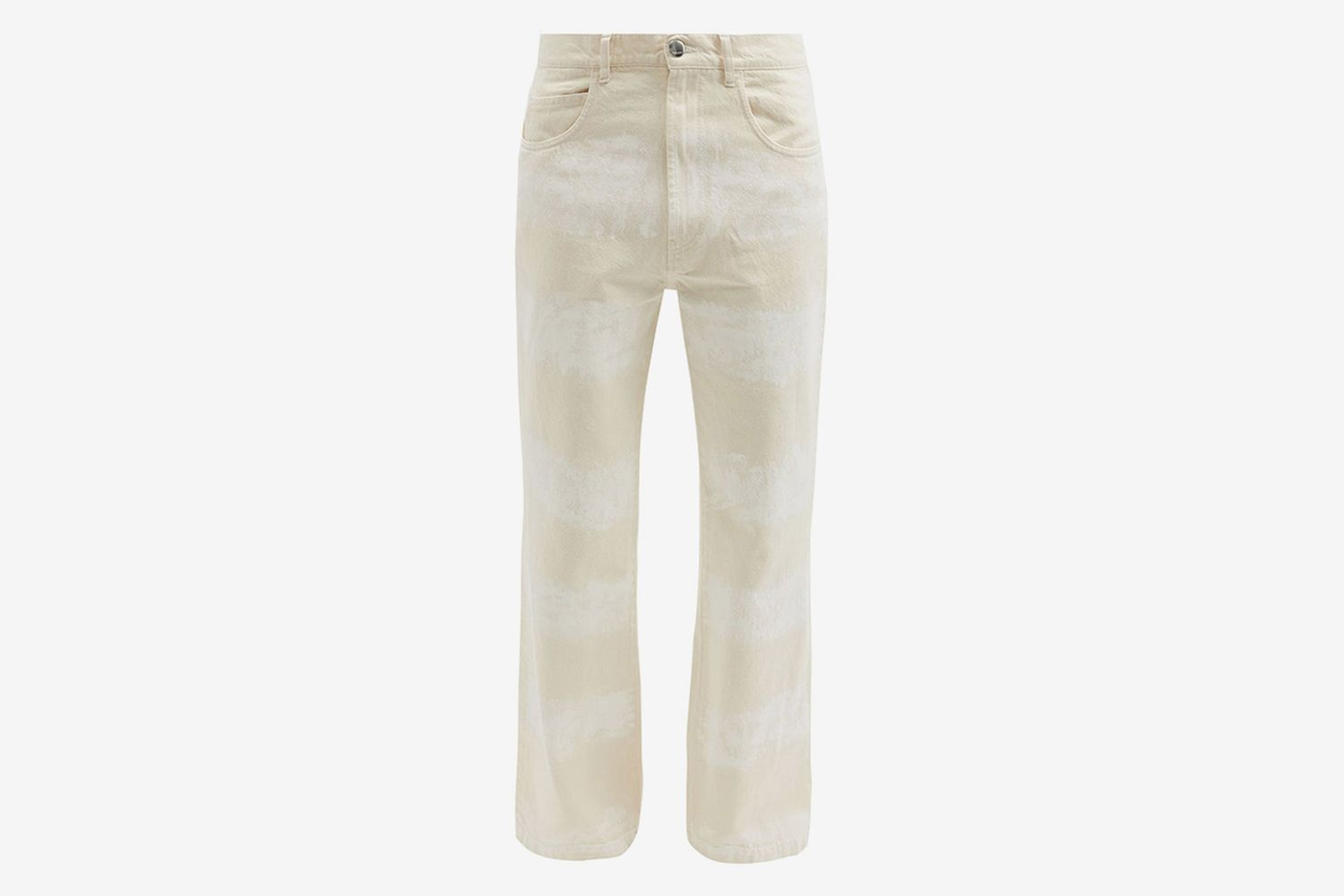 Brushstroke-Striped Cotton Flared-Leg Jeans