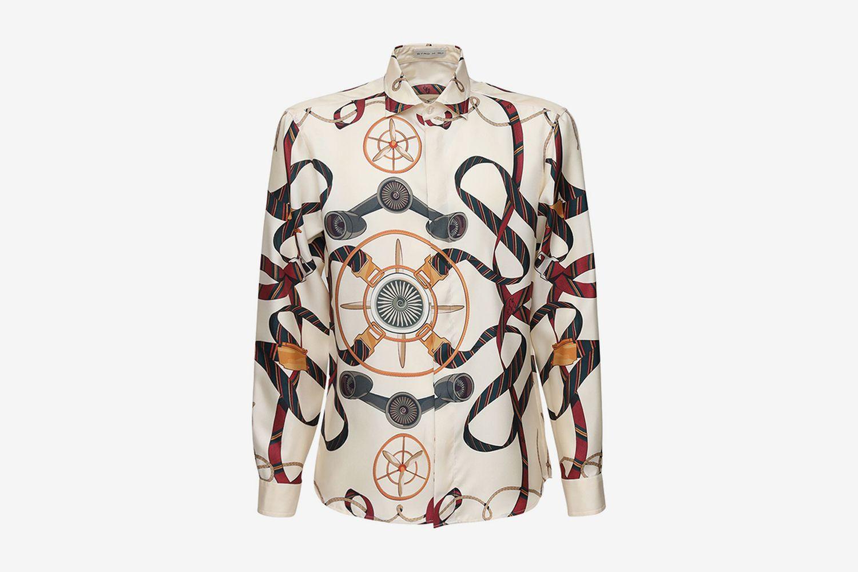 Fly Pegaso Print Silk Shirt