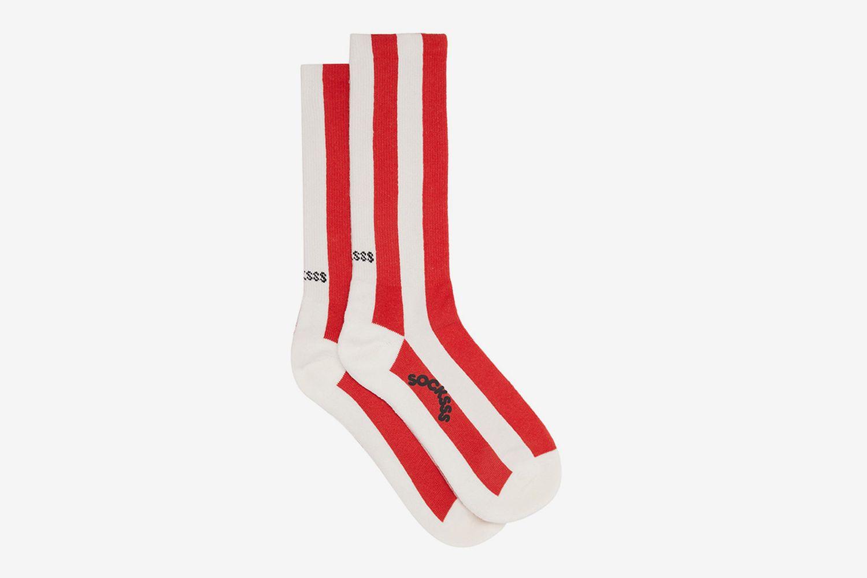 Polka Stripe-Jacquard Cotton-Blend Socks