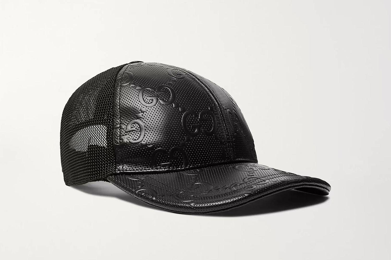 Logo-Embossed Leather and Mesh Baseball Cap