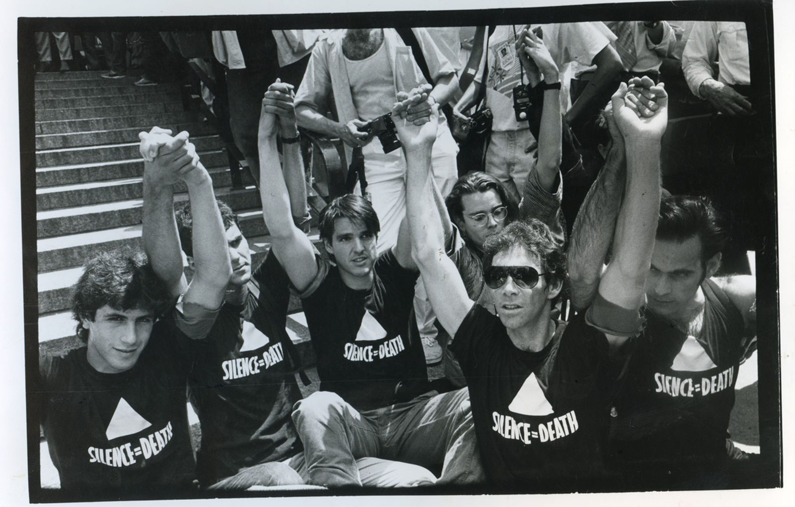 ACT-UP Demo Federal Plaza NYC June 30, 1987 From left: Steve Gendon, Mark Aurigemma, Douglas Montgomery, Charles Stinson, Frank O'Dowd, Avram Finkelstein.