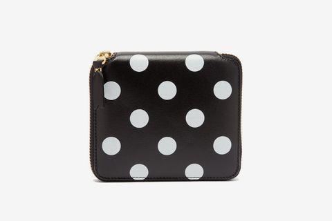 Polka-Dot Zip-Around Leather Wallet