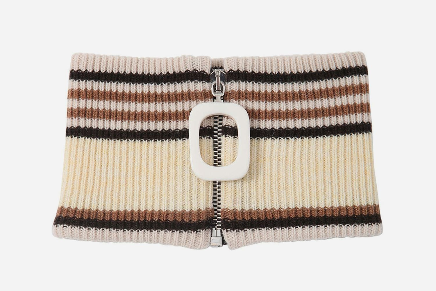 Wool Knit Zip-Up Neckband