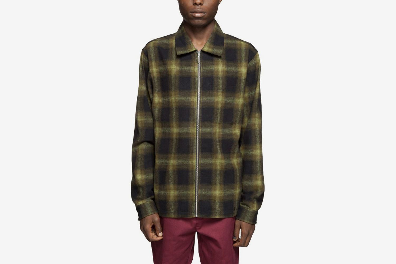 Zip Up Shadow Plaid Shirt