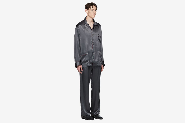 Grey Embroidered Pocket Pyjama Set
