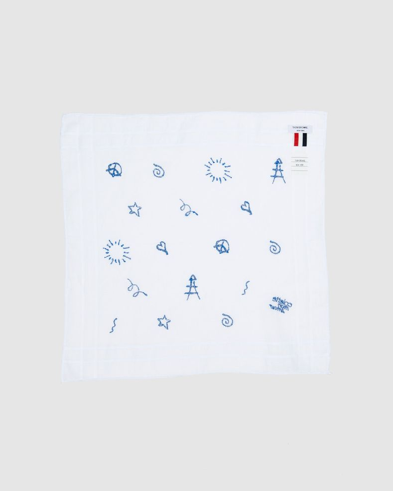 Colette Mon Amour x Thom Browne - White Embroidered Pocket Square