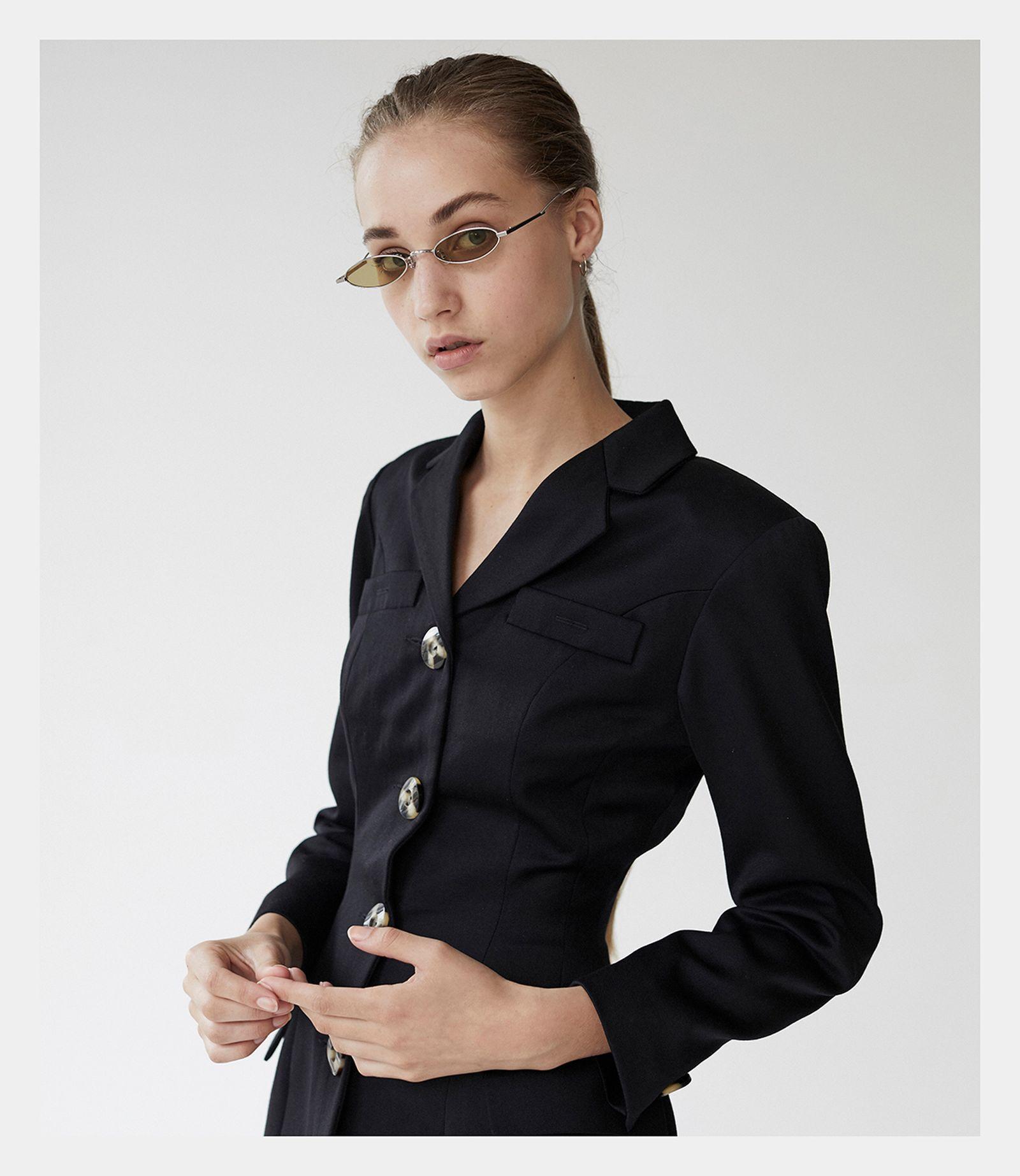 Suit: STEVO O' SMITH. Sunglasses GENTLE MONSTER.