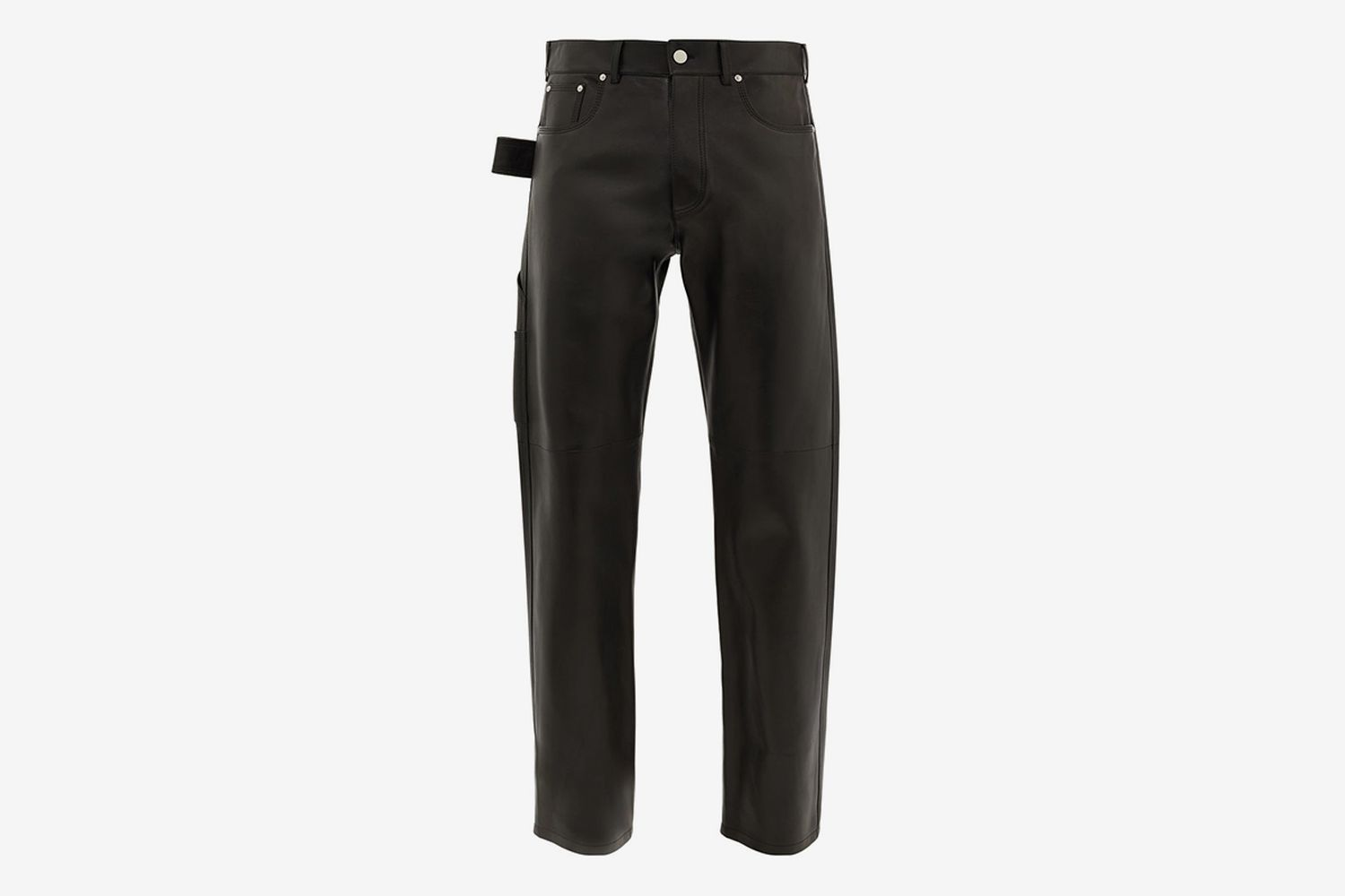 V-Stitched Leather Trousers