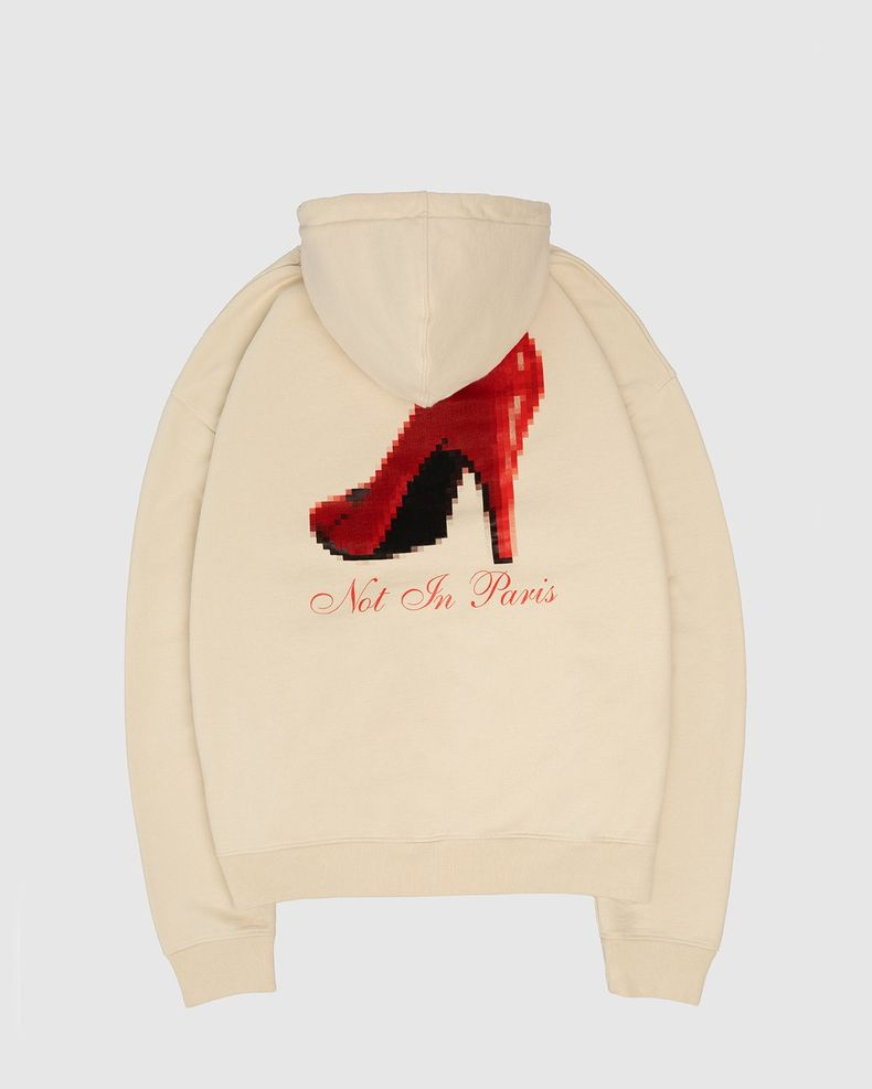 Highsnobiety — Not In Paris Red Heel Hoodie Eggshell
