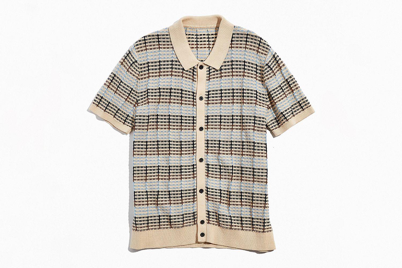 Textured Stripe Short Sleeve Sweater