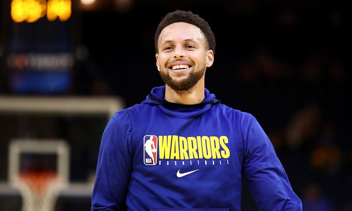 Stephen Curry #30 of the Golden State Warriors warms up before their game against the Toronto Raptors at Chase Center on March 05, 2020