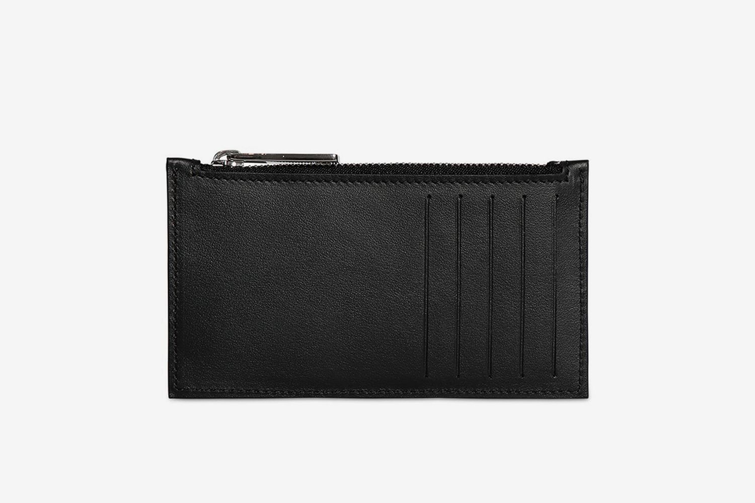 Leather Split Logo Card Holder W/Zip