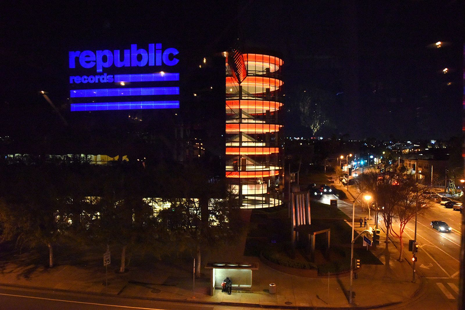 A view of Pacific Design Center at a celebration of music with Republic Records