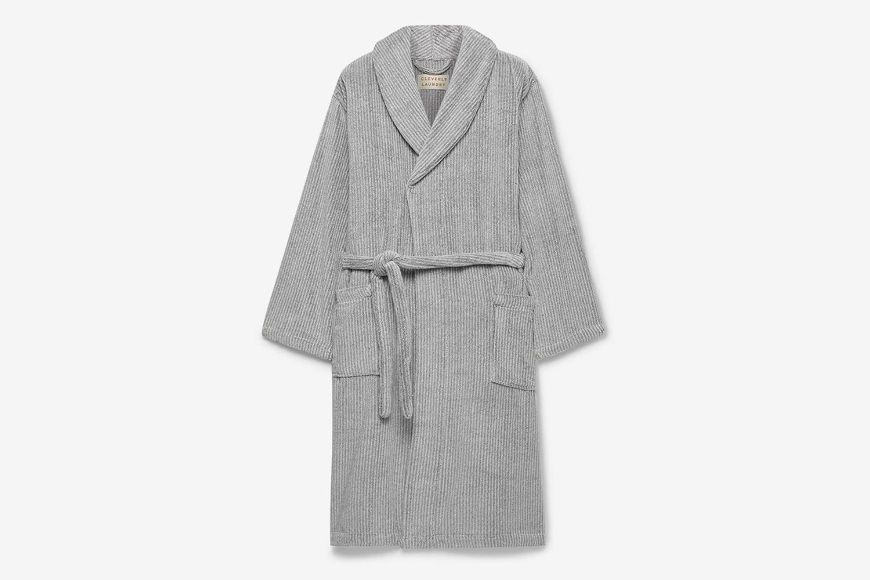 Pinstriped Cotton-Terry Robe