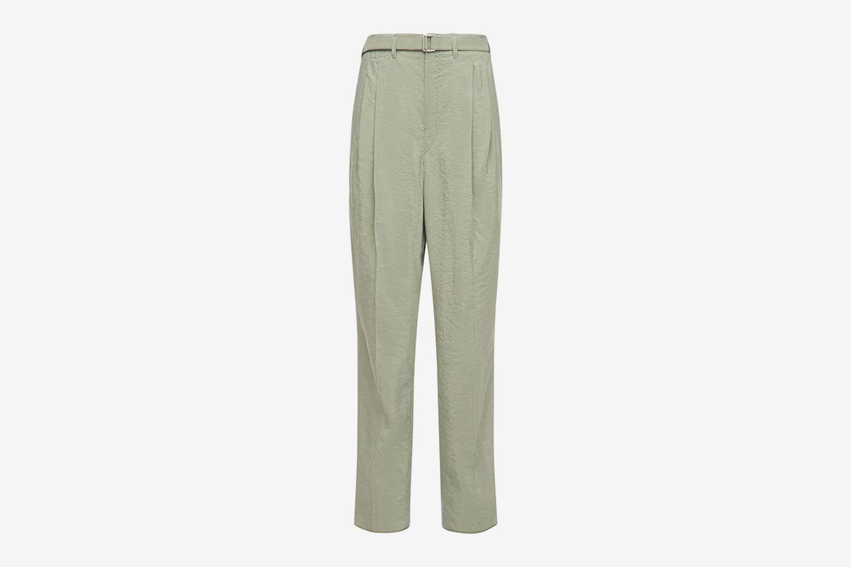 Pleated Dry Silk Blend Pants W/ Belt