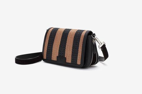 Brown Raffia Flap Bag