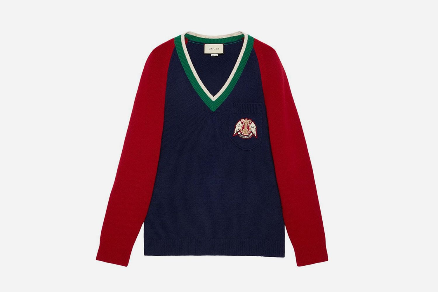 V-neck wool sweater with lyre