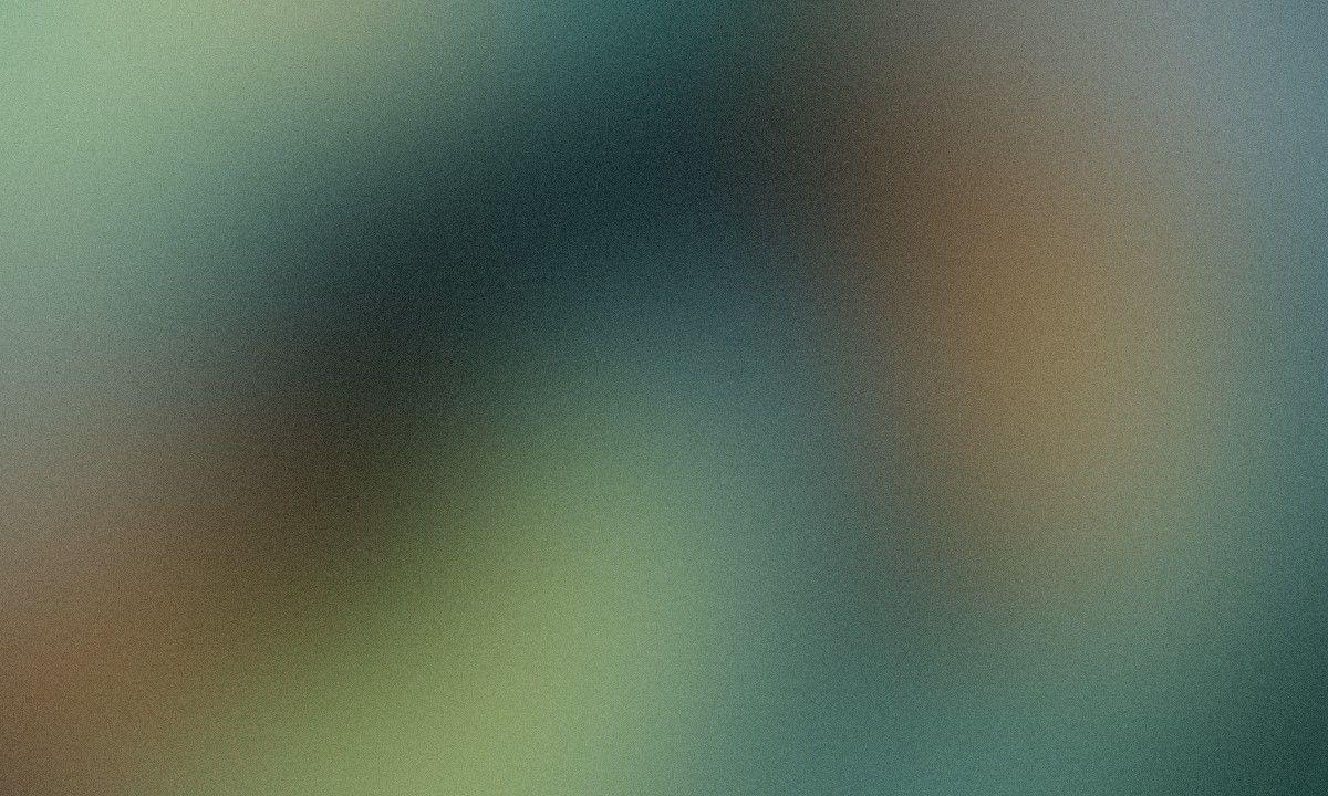 (Far Left) Shirt – Peels, Shorts & Sneakers – Helmut Lang, Socks – Nike, Jewelry – Model's Own (Middle) Denim Jacket & Shirt – Levi's, Pants – Heron Preston, Boots – Danner, Jewelry – Model's Own, (Far Right) Bomber – Alpha Industries, Polo Shirt – Palm Angels, Shorts – Landlord, Jewelry – Model's Own