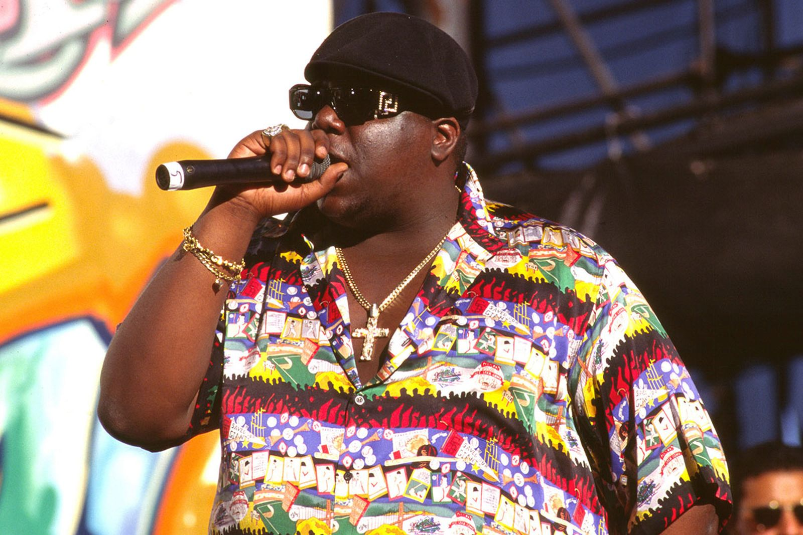Notorious B.I.G. performing multicolored shirt