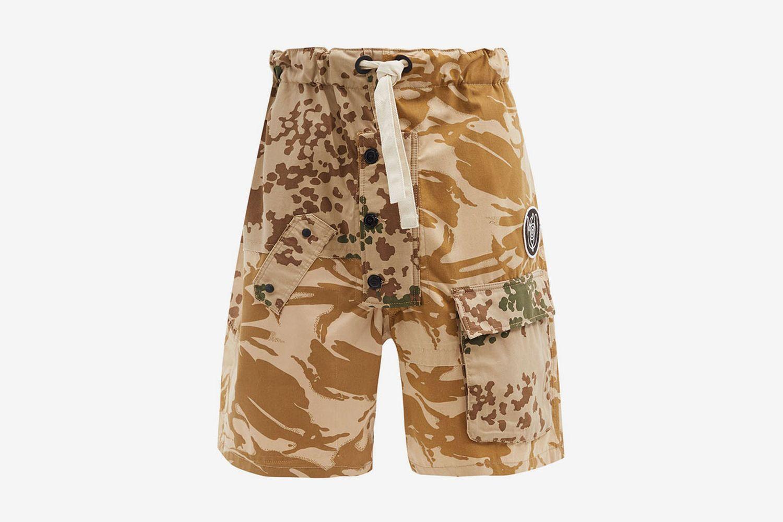 Camouflage-Print Upcycled Shorts