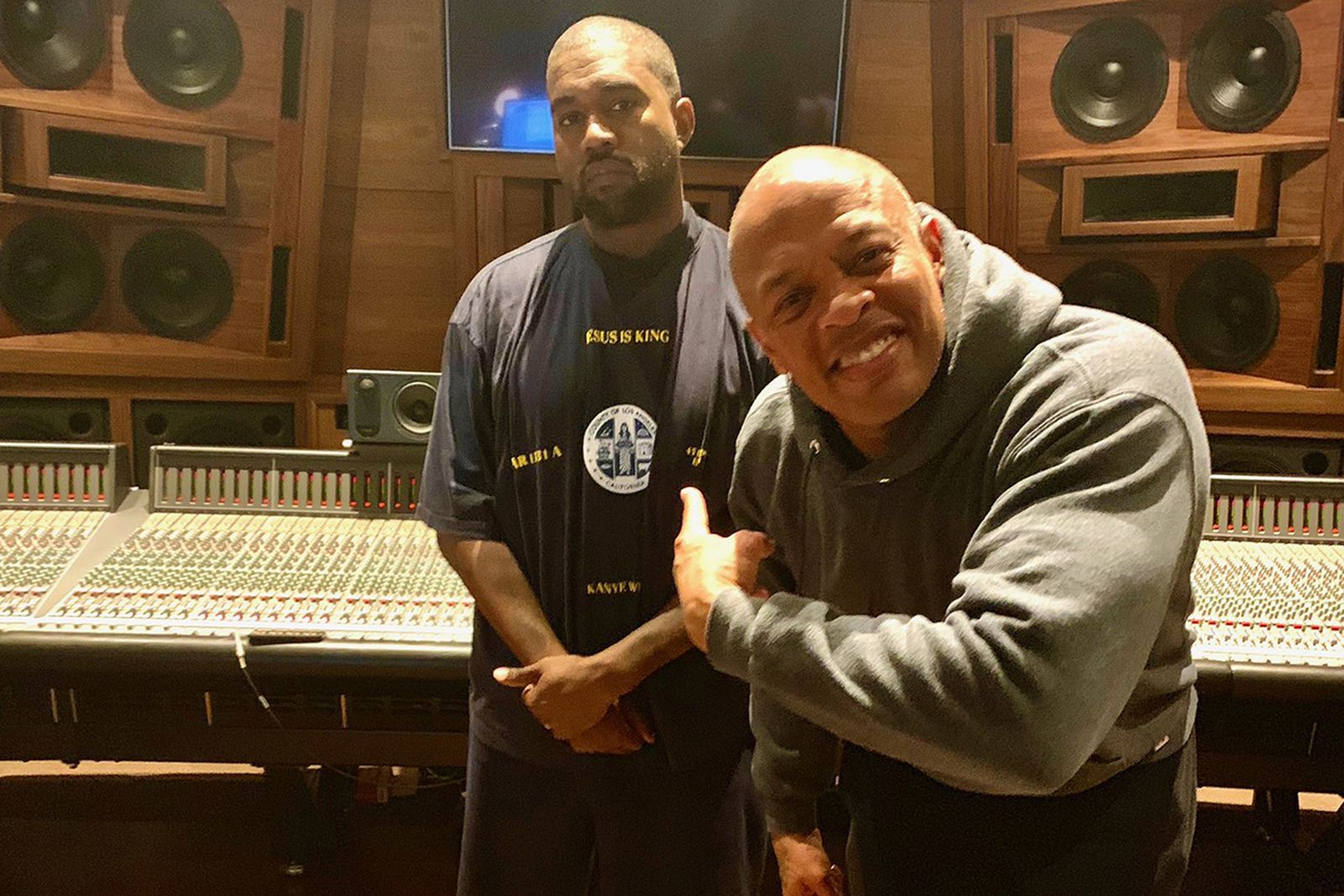 kanye west and Dr. Dre in the studio