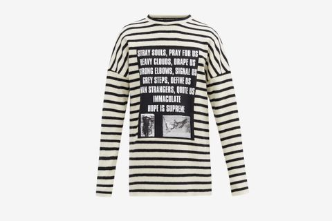 SS02 Poem-Panel Striped Brushed-Wool Sweater