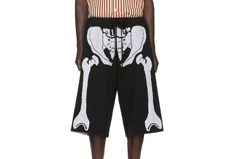 Black and White William De Morgan Skeleton Shorts