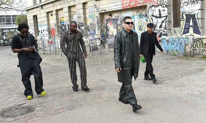 Kwes Darko, Skepta, Slowthai and Alex Sossah arrive at Bottega Veneta's presentation of 'Salon 02' in Berlin