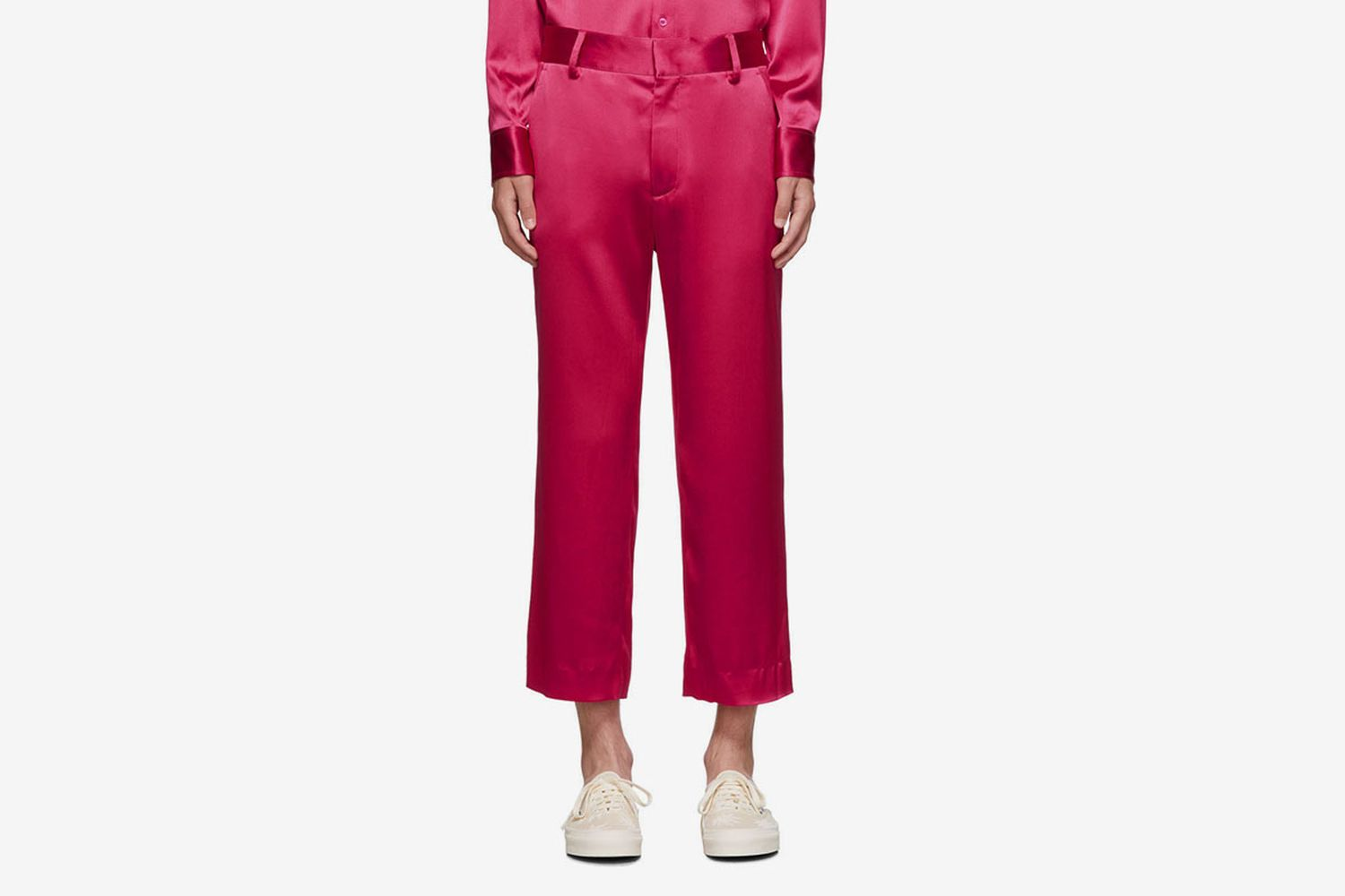 Crinkled Satin Cropped Alex Trousers