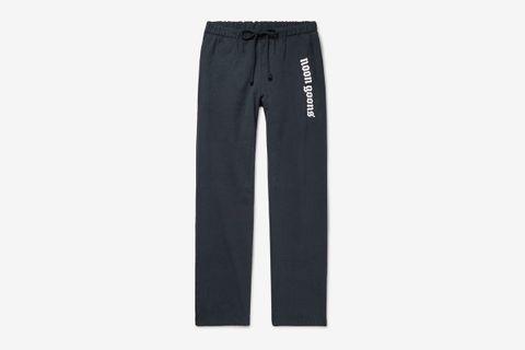 Wide-Leg Logo-Print Fleece-Back Cotton-Jersey Sweatpants