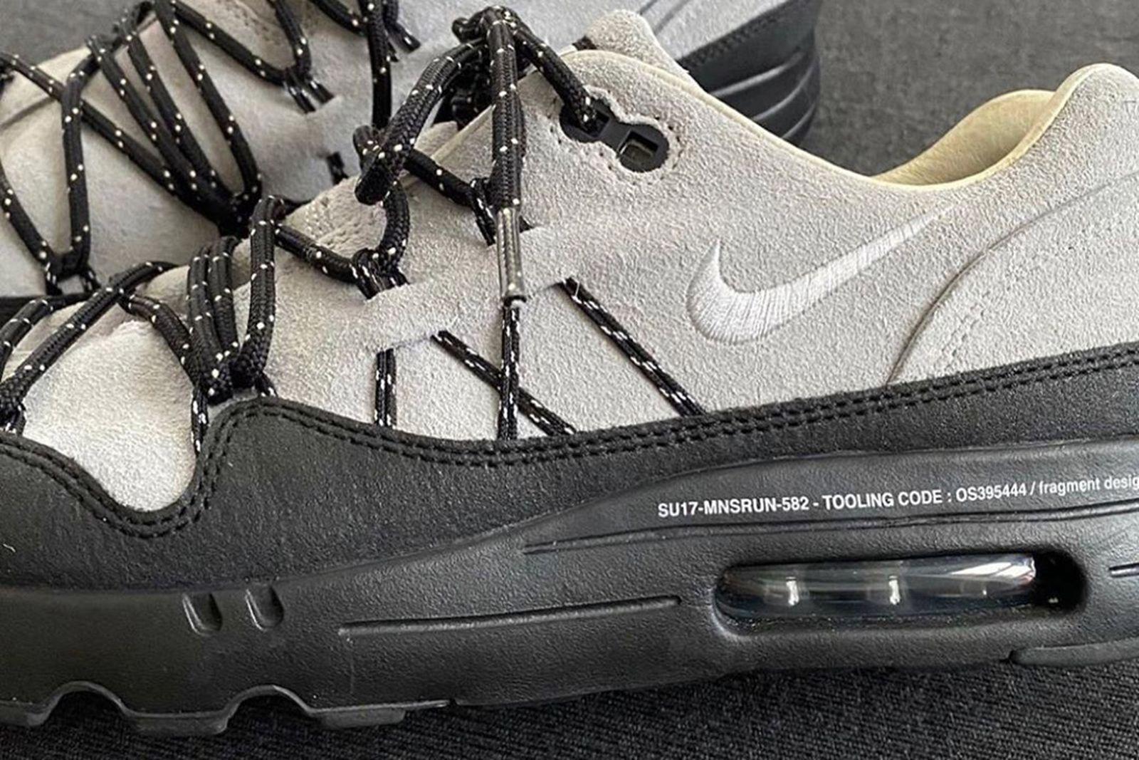Side profile view of Hiroshi Fujiwara's Nike Air Max 1 in grey and black