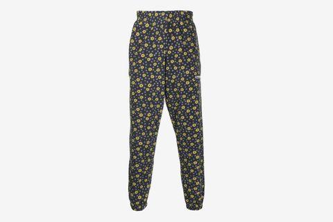 Floral Print Fleece Track Pants