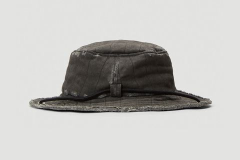Denim Overlay Bucket Hat in Black