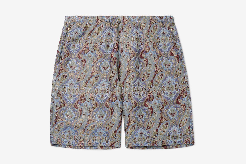 Wide-Leg Paisley Jacquard Shorts