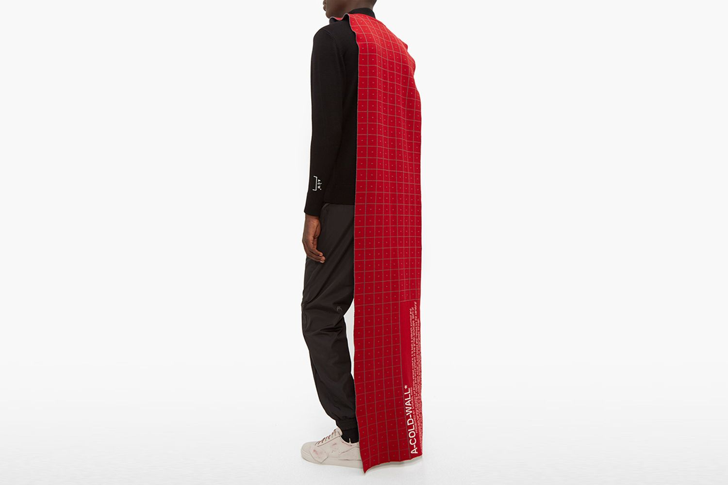 Grid-Jacquard Wool Cape Scarf