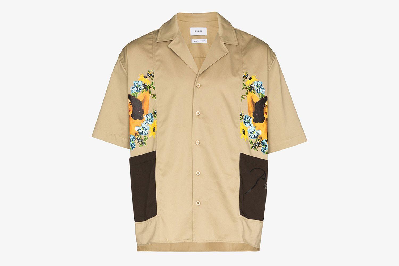 Cigar-Printed Short-Sleeve Shirt