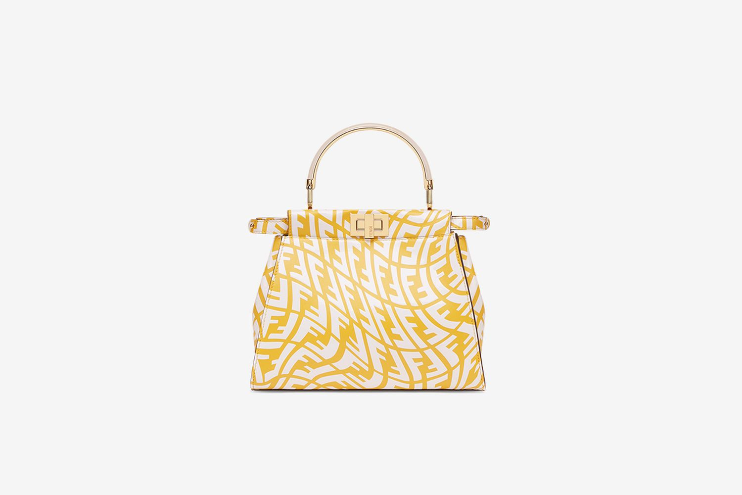 Yellow and White FF Leather Bag
