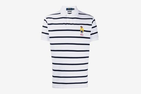 Bear-Appliqué Striped Polo Shirt