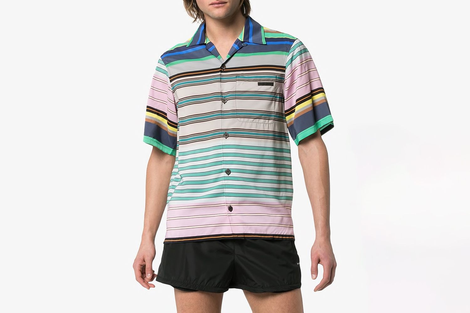 Stripe Print Logo Patch Shirt