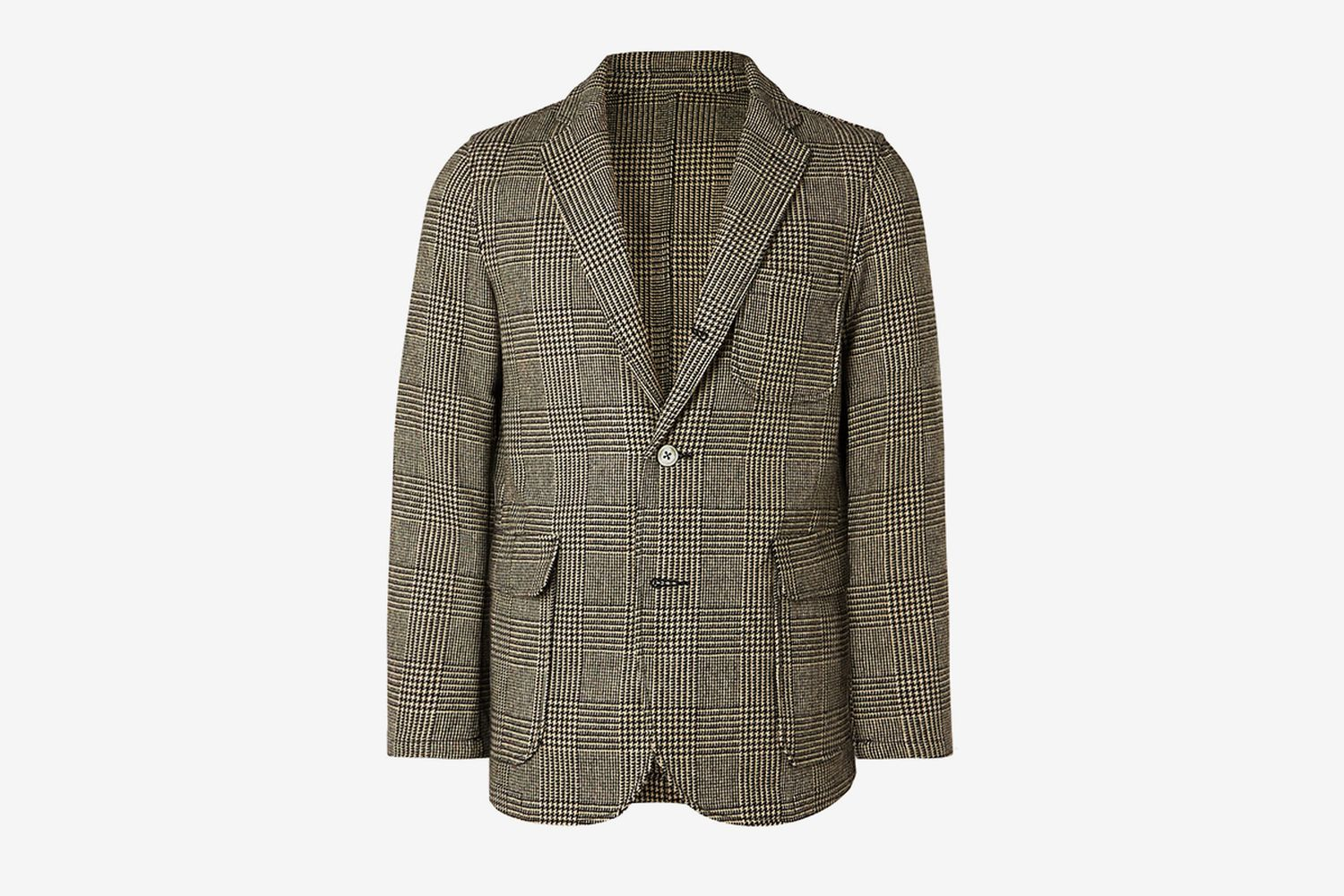 Unstructured Prince of Wales Checked Wool-Blend Blazer
