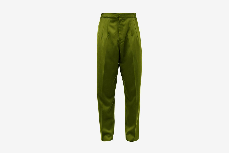 High Rise Silk Doupioni Trousers