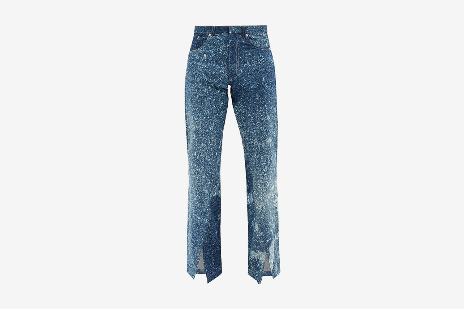 Slit-cuff Bleached Jeans