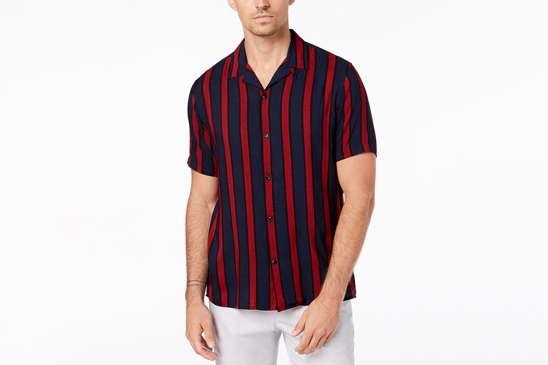 Camp Collar Striped Shirt