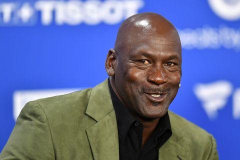 Michael Jordan attends a press conference before the NBA Paris Game match